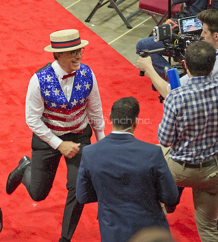 Stephen Colbert, host of The Late Show with Stephen Colbert on CBS-TV, practices a bit in one of the aisles of the floor of the 2016 Republican National Convention in the Quicken Loans Arena in Cleveland, Ohio on Sunday, July 17, 2016.<br /> Credit: Ron Sachs / CNP/MediaPunch<br /> (RESTRICTION: NO New York or New Jersey Newspapers or newspapers within a 75 mile radius of New York City)