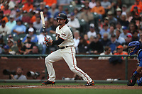 SAN FRANCISCO, CA - AUGUST 9:  Jarrett Parker #6 of the San Francisco Giants bats against the Chicago Cubs during the game at AT&T Park on Wednesday, August 9, 2017 in San Francisco, California. (Photo by Brad Mangin)