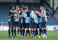 Wycombe Wanderers celebrate as Stephane Zubar of York scores an OG to make it 3-0 during the Sky Bet League 2 match between Wycombe Wanderers and York City at Adams Park, High Wycombe, England on 8 August 2015. Photo by Andy Rowland.