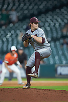 Mississippi State Bulldogs relief pitcher Cole Gordon (24) in action against the Sam Houston State Bearkats during game eight of the 2018 Shriners Hospitals for Children College Classic at Minute Maid Park on March 3, 2018 in Houston, Texas. The Bulldogs defeated the Bearkats 4-1.  (Brian Westerholt/Four Seam Images)