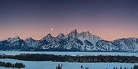 A setting moon at sunrise in Grand Teton National Park. <br />