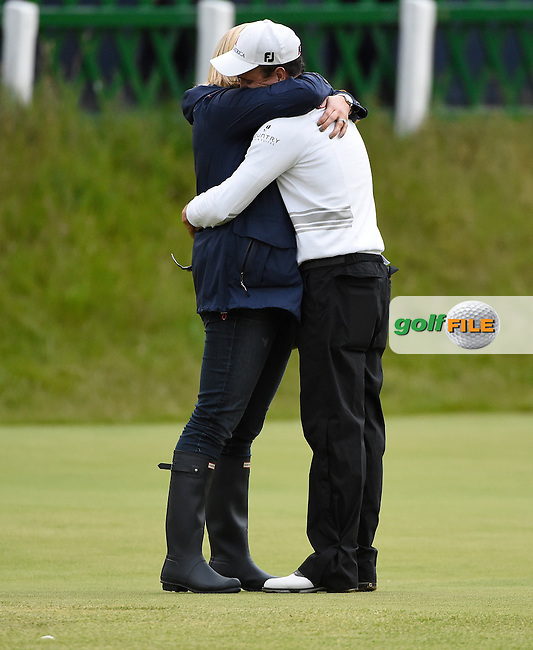 Zach JOHNSON (USA) wins the Championship, after 4 playoff holes, and gets a hug from his wife on the 18th green during Monday's Final Round of the 144th Open Championship, St Andrews Old Course, St Andrews, Fife, Scotland. 20/07/2015.<br /> Picture Eoin Clarke, www.golffile.ie