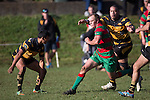 Braden Olson is chased by Ben Masoe as he carries the attack upfield for Waiuku. Counties Manukau Premier Club Rugby game between Bombay and Waiuku, played at Bombay, on Saturday May 31 2014. Waiuku won the game 16 - 14 after leading 9 - 7 at halftime  Photo by Richard Spranger