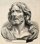 Engraved illustration of Jesus Christ's head. Original, from drawing of Worms after photo of Lapanne of a marble sculpture of P. Puget, was published on L'Illustration, Journal Universel, Paris, 1860