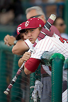 South Carolina pitcher Patrick Sullivan watches Game Two of the NCAA Division One Men's College World Series Finals on June 29th, 2010 at Johnny Rosenblatt Stadium in Omaha, Nebraska.  (Photo by Andrew Woolley / Four Seam Images)