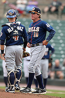 Durham Bulls pitching coach Neil Allen #16 talks with catcher Craig Albernaz #4 during a game against the Empire State Yankees at Frontier Field on May 13, 2012 in Rochester, New York.  Durham defeated Empire State 3-1.  (Mike Janes/Four Seam Images)