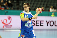21.01.2013 Barcelona, Spain. IHF men's world championship, Eighth Final. Picture show Gasper Marguc  in action during game slovenia vs Egypt at Palau St Jordi