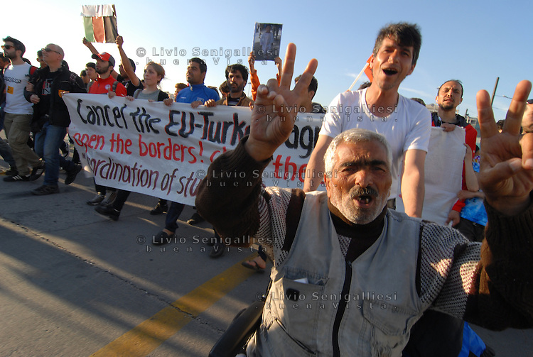 Pireus / Athens 30/3/2016<br /> Refugee camp in Pireus Port. Demonstration against EU-Turckey agreement and request to open the borders with Makedonia.<br /> Photo Livio Senigalliesi
