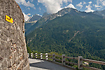 Stone road in Soglio, Switzerland a town the Bregaglia Valley; Graubunden Canton