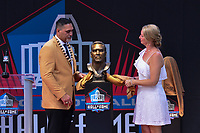 Canton, Ohio - August 3, 2019: Kevin Mawae unveils his bust at the Tom Benson Hall of Fame Stadium in Canton, Ohio August 3, 2019 after his induction into the Pro Football Hall of Fame.  (Photo by Don Baxter/Media Images International)