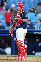 Reading Phillies catcher Sebastian Valle #12 during a game against the Portland Seadogs at FirstEnergy Stadium on April 7, 2012 in Reading, Pennsylvania.  Reading defeated Portland 4-1.  (Mike Janes/Four Seam Images)