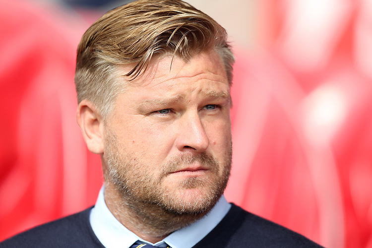 Oxford United manager Karl Robinson <br /> <br /> Photographer Rich Linley/CameraSport<br /> <br /> The EFL Sky Bet League One - Fleetwood Town v Oxford United - Saturday 7th September 2019 - Highbury Stadium - Fleetwood<br /> <br /> World Copyright © 2019 CameraSport. All rights reserved. 43 Linden Ave. Countesthorpe. Leicester. England. LE8 5PG - Tel: +44 (0) 116 277 4147 - admin@camerasport.com - www.camerasport.com