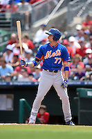 New York Mets outfielder Brandon Nimmo (77) during a Spring Training game against the St. Louis Cardinals on April 2, 2015 at Roger Dean Stadium in Jupiter, Florida.  The game ended in a 0-0 tie.  (Mike Janes/Four Seam Images)