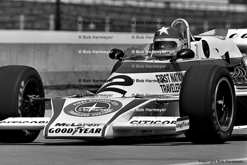 INDIANAPOLIS, IN: Johnny Rutherford drives out of the pit lane in his McLaren M24 1/Cosworth TC during practice for the Indianapolis 500 on May 29, 1977, at the Indianapolis Motor Speedway.