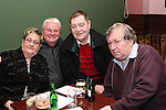 Rose Reynolds, Paul McAuley, Tom Lee and Liam Reilly at the Table Quiz in Foleys...Photo NEWSFILE/Jenny Matthews.(Photo credit should read Jenny Matthews/NEWSFILE)....This Picture has been sent you under the condtions enclosed by:.Newsfile Ltd..The Studio,.Millmount Abbey,.Drogheda,.Co Meath..Ireland..Tel: +353(0)41-9871240.Fax: +353(0)41-9871260.GSM: +353(0)86-2500958.email: pictures@newsfile.ie.www.newsfile.ie.FTP: 193.120.102.198.
