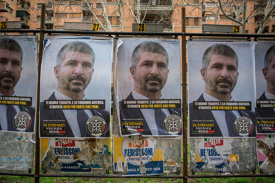 Posters in the Roman San Giovanni neighbourhood of Simone di Stefano, the neofascist group Casa Pounds first candidate.
