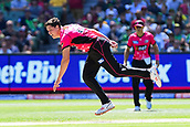 10th February 2019, Melbourne Cricket Ground, Melbourne, Australia; Australian Big Bash Cricket, Melbourne Stars versus Sydney Sixers; Ben Dwarshuis of the Sydney Sixers follows through with his bowling action