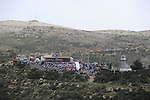 Seen from Majdal Shams, Golan Heights, people in Syria celebrate the Syrian independence day on Israel-Syria border.