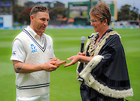Wellington mayor Celia Wade-Brown (right) presents NZ captain Brendon McCullum with the keys to the city during day one of the 2nd cricket test match between the New Zealand Black Caps and Sri Lanka at the Hawkins Basin Reserve, Wellington, New Zealand on Saturday, 3 February 2015. Photo: Dave Lintott / lintottphoto.co.nz