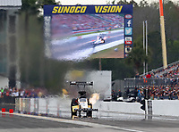 Mar 16, 2019; Gainesville, FL, USA; NHRA top fuel driver T.J. Zizzo during qualifying for the Gatornationals at Gainesville Raceway. Mandatory Credit: Mark J. Rebilas-USA TODAY Sports