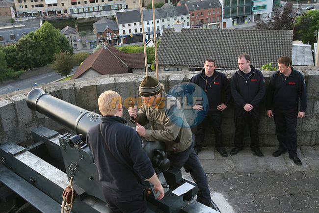 Members of the fire brigade prepare the canon to be fired after Michael O'Dowd became Mayor...Photo NEWSFILE/Jenny Matthews.(Photo credit should read Jenny Matthews/NEWSFILE)....This Picture has been sent you under the condtions enclosed by:.Newsfile Ltd..The Studio,.Millmount Abbey,.Drogheda,.Co Meath..Ireland..Tel: +353(0)41-9871240.Fax: +353(0)41-9871260.GSM: +353(0)86-2500958.email: pictures@newsfile.ie.www.newsfile.ie.FTP: 193.120.102.198.