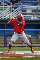 Williamsport Crosscutters second baseman Josh Tobias (33) at bat during a game against the Batavia Muckdogs on August 29, 2015 at Dwyer Stadium in Batavia, New York.  Williamsport defeated Batavia 7-3.  (Mike Janes/Four Seam Images)