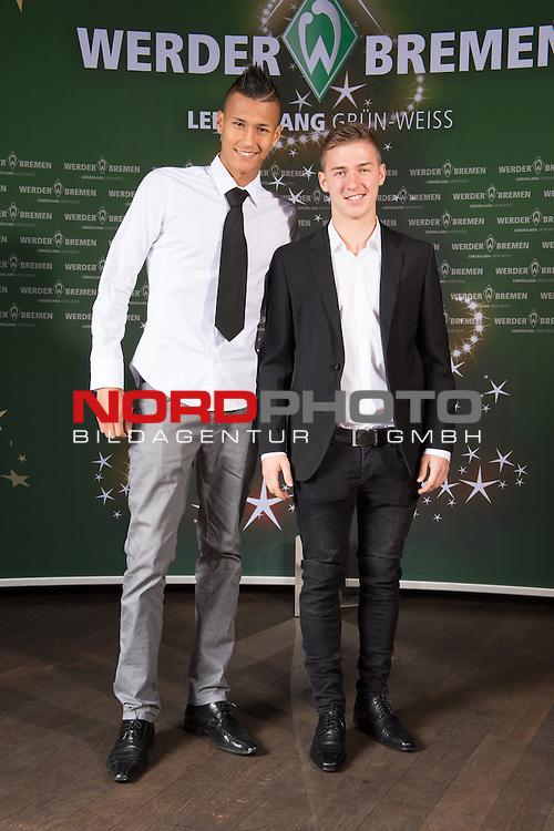 16.12.2013, GOP - Theater, Bremen, Weihnachtsfeier Werder Bremen 2013, im Bild<br /> <br /> Davie Welke und Martin Kobylanski<br /> <br /> Foto &copy; nordphoto / Kokenge
