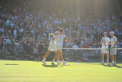 11.07.2015. Wimbledon, England. The Wimbledon Tennis Championships. Gentlemens Doubles Final between Jean-Julien Rojer (NED) and Horia Tecau (ROU) versus Jamie Murray (GBR) and John Peers (AUS). Jean-Julien Rojer and Horia Tecau celebrate their victory in straight sets