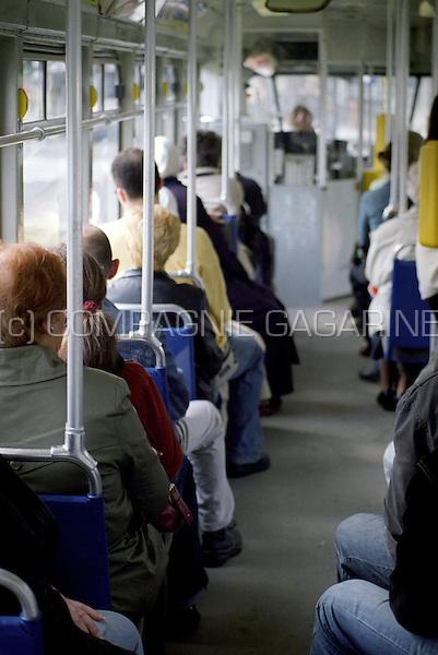Passengers in a De Lijn tram in Antwerp (Belgium, 15/05/2007)