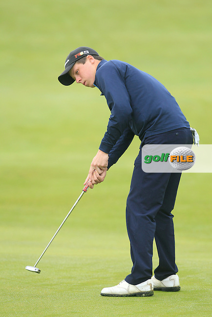 Mark MacGrath (Limerick) on the 4th green during Matchplay Semi Final of the South of Ireland Amateur Open Championship at LaHinch Golf Club on Sunday 26th July 2015.<br /> Picture:  Golffile | TJ Caffrey