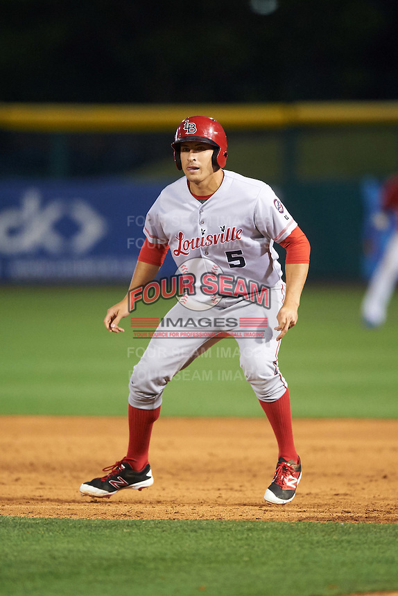 Louisville Bats third baseman Seth Mejias-Brean (5) leads off first during a game against the Buffalo Bisons on June 20, 2016 at Coca-Cola Field in Buffalo, New York.  Louisville defeated Buffalo 4-1.  (Mike Janes/Four Seam Images)