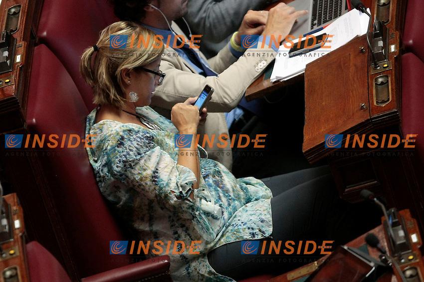 Roberta Lombardi, notevolmente ingrassata, e' incinta. Se e' una bimba vorrebbe chiamarla Stella.<br /> Roma 11-09-2013 Camera. Mozione sulla situazione in Siria.<br /> Lowe Chamber. Discussion about the situation in Syria. <br /> Photo Samantha Zucchi Insidefoto