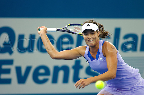 04.01.2010 Ana Ivanovic (ser) beat Dokic (aus) 7-5  1-6  .6-3 in the first round of the Brisbane International WTA tennis tournament.. Photo: Photoshot/Actionplus - Editorial Use
