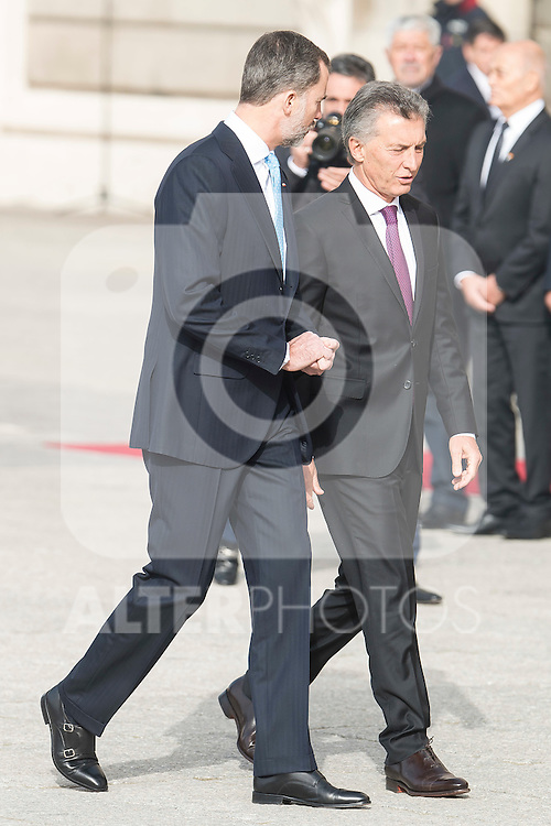 President of Argentinian Republic Mauricio Macri and  King Felipe VI of Spain during state visit of the president of Argentinian Republic, Sr. Mauricio Macri and Sra Juliana Awada at Real Palace in Madrid, Spain. February 19, 2017. (ALTERPHOTOS/BorjaB.Hojas)