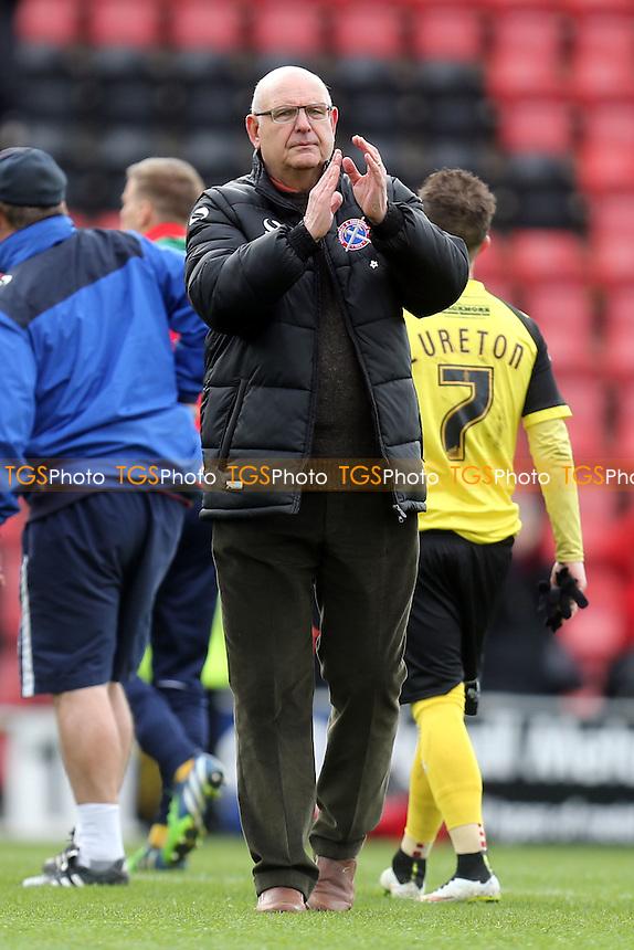 Dagenham and Redbridge manager John Still applauds the away fans after Leyton Orient vs Dagenham and Redbridge, Sky Bet League 2 Football at the Matchroom Stadium on 16th April 2016