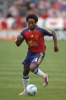 Real Salt Lake's Jeff Cunningham moves the ball up field against CD Chivas in the first half at the Home Depot Center in Carson, CA on Saturday night, April 2, 2006..(Matt A. Brown/ISI)