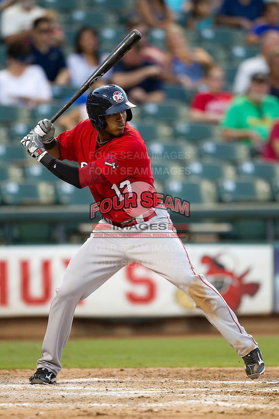Oklahoma City RedHawks second baseman Jimmy Paredes #17 at bat during the Pacific Coast League baseball game against the Round Rock Express on June 15, 2012 at the Dell Diamond in Round Rock, Texas. The Express shutout the RedHawks 2-1. (Andrew Woolley/Four Seam Images).