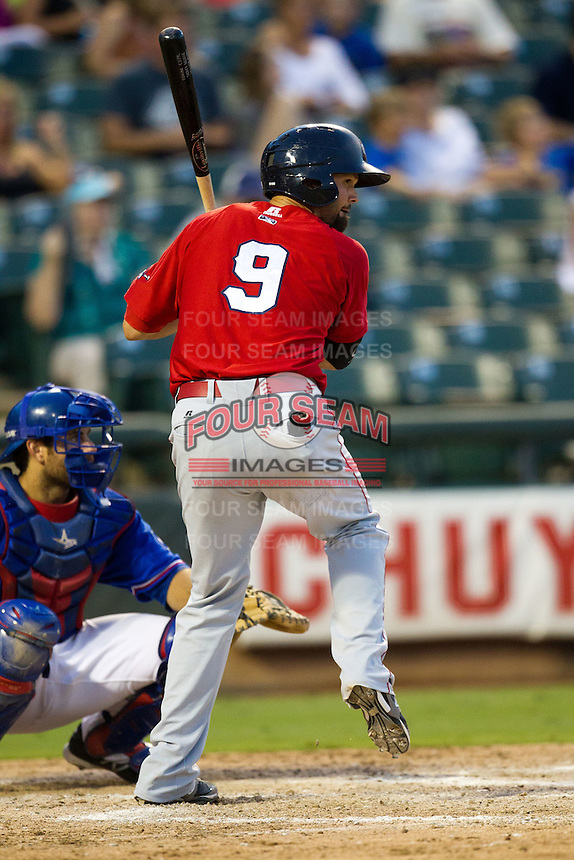 Oklahoma City RedHawks third baseman Scott Moore #9 at the plate during the Pacific Coast League baseball game against the Round Rock Express on June 15, 2012 at the Dell Diamond in Round Rock, Texas. The Express shutout the RedHawks 2-1. (Andrew Woolley/Four Seam Images).
