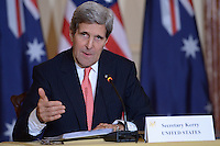 November 20, 2013  (Washington, DC)  Secretary of State John Kerry answers questions of the news media  during a meeting with the Australian Foreign Minister and  Australian officials at in the Ben Frankilin Room of the State Department.  (Photo by Don Baxter/Media Images International)