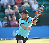 June 16th 2017, Nottingham, England; ATP Aegon Nottingham Open Tennis Tournament day 5;  Dudi Sela of Israel plays a volley at the net in his match against Lloyd Glasspool of Great Britain