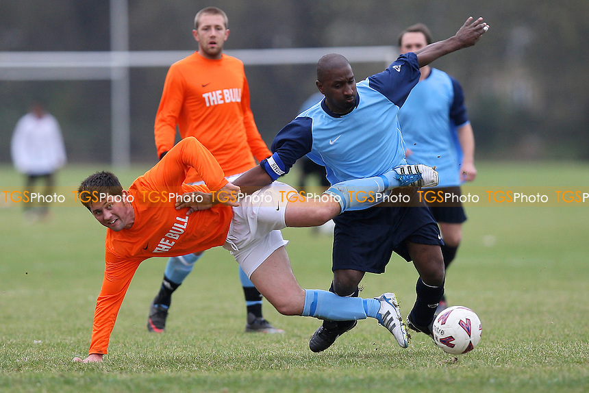 Hatch Lane (light blue/dark blue) vs Albert Royals (orange) - East London Sunday League Football at South Marsh, Hackney Marshes, London - 05/11/11 - MANDATORY CREDIT: Gavin Ellis/TGSPHOTO - Self billing applies where appropriate - 0845 094 6026 - contact@tgsphoto.co.uk - NO UNPAID USE.
