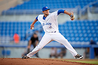 Dunedin Blue Jays relief pitcher Andy Ravel (17) delivers a pitch during a game against the Tampa Tarpons on June 2, 2018 at Dunedin Stadium in Dunedin, Florida.  Dunedin defeated Tampa 4-0.  (Mike Janes/Four Seam Images)