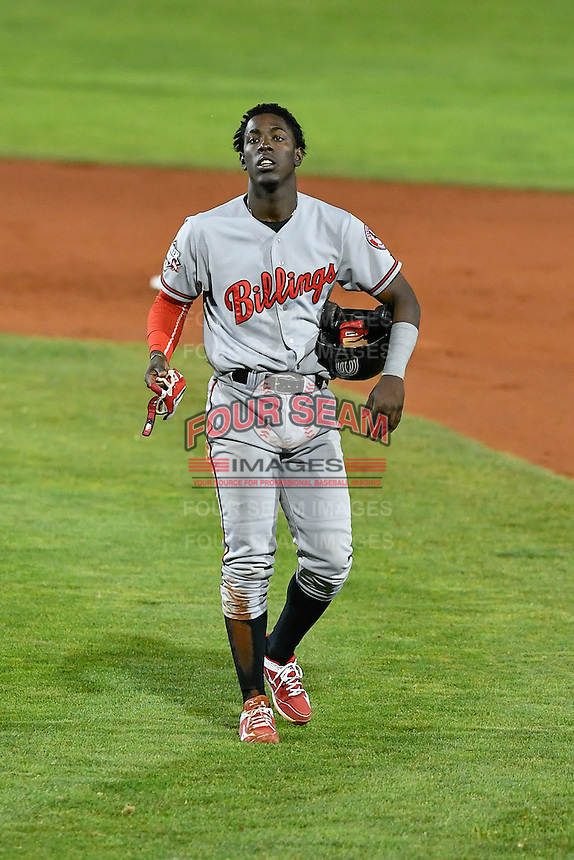 Hector Vargas (19) of the Billings Mustangs during the game against the Orem Owlz in Game 2 of the Pioneer League Championship at Home of the Owlz on September 16, 2016 in Orem, Utah. Orem defeated Billings 3-2 and are the 2016 Pioneer League Champions. (Stephen Smith/Four Seam Images)