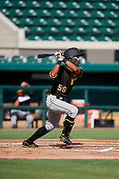 Pittsburgh Pirates Ji-Hwan Bae (56) follows through on a swing during a Florida Instructional League game against the Detroit Tigers on October 6, 2018 at Joker Marchant Stadium in Lakeland, Florida.  (Mike Janes/Four Seam Images)