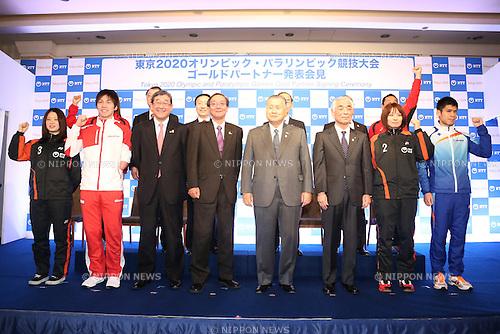 (L-R) Minatsu Mitani, Takuro Yamada,  Yasushi Yamawaki,  NTT Hiroo Unoura, Yoshiro Mori,  Tsuyoshi Aoki, Yui Hashimoto, Tadashi Horikoshi, JANUARY 26, 2015 : NTT corporation has Press conference at Hotel Okura Tokyo.<br /> NTT corporation today announced that it has entered into a partnership agreement with the Tokyo Organising Committee of the Olympic and Paralympic Games.<br /> (Photo by Shingo Ito/AFLO SPORT) [1195]