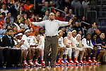 SIOUX FALLS, SD - MARCH 27, 2016 -- Syracuse head coach Quentin Hillsman talks to his players on the floor during their NCAA DI Regional Championship game against Tennessee Sunday at the Denny Sanford Premier Center in Sioux Falls, S.D.  Syracuse won 89-67 to advance to the Final Four and will face Washington. (Photo by Dick Carlson/Inertia)