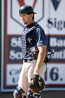June 15 2008:  Catcher B.J. Dubarry (11) of the Fort Wayne Wizards, Class-A affiliate of the San Diego Padres, during a game at Fifth Third Field in Comstock Park, MI.  Photo by:  Mike Janes/Four Seam Images