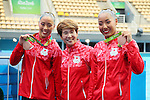 (L-R) Yukiko Inui,  Masayo Imura, Risako Mitsui (JPN), <br /> AUGUST 16, 2016 - Synchronized Swimming : <br /> Duets Free Routine Final <br /> at Maria Lenk Aquatic Centre <br /> during the Rio 2016 Olympic Games in Rio de Janeiro, Brazil. <br /> (Photo by Yohei Osada/AFLO SPORT)