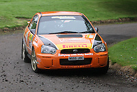 Jock Armstrong / Kirsty Riddick near Junction 10 on the Gleaner Oil & Gas Cooper Park Special Stage 2 of the Gleaner Oil & Gas Speyside Stages Rally 2012, Round 6 of the RAC MSA Scotish Rally Championship which was organised by The 63 Car Club (Elgin) Ltd and based in Elgin on 4.8.12........