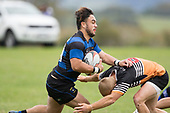 Ikinofo Lanardo looks to fend off Caleb Brown's head on tackle. Counties Manukau Premier Counties Power Club Rugby Round 2, Game of the Week, between Te Kauwhata and Onewhero, played at Te Kauwhata on Saturday March 17th 2018. <br /> Photo by Richard Spranger.<br /> <br /> Onewhero won the game 43 - 10 after leading 21 - 10 at halftime.<br /> Te Kauwhata EnviroWaste  10 - Lani Latu try,  Caleb Brown 1 conversion, Caleb Brown 1 penalty.<br /> Onewhero 43 - Jackson Orr 2, Ilaisa Koaneti 2, Vaughan Holdt, Zac Wootten, Rhain Strang tries, Vaughan Holdt 4 conversions.